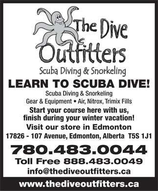 The Dive Outfitters Ltd (780-483-0044) - Display Ad