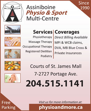Assiniboine Physio & Sport Multi-Centre (204-885-2441) - Display Ad - 204.515.1141 204.515.1141
