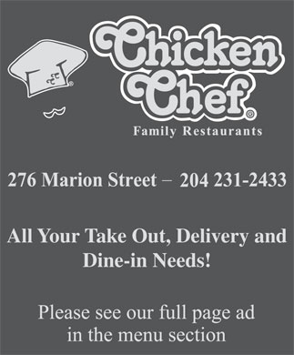 Chicken Chef Family Restaurants (204-231-2433) - Annonce illustrée - All Your Take Out, Delivery and Dine-in Needs! All Your Take Out, Delivery and Dine-in Needs!