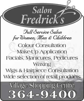 Salon Fredrick's (709-364-9400) - Annonce illustr&eacute;e