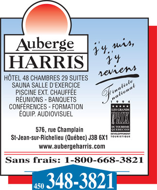 Auberge Harris (450-348-3821) - Display Ad