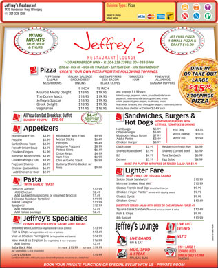 Jeffrey's Restaurant (204-338-7398) - Menu