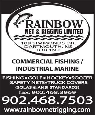 Rainbow Net & Rigging Ltd (902-468-7503) - Display Ad - COMMERCIAL FISHING / INDUSTRIAL MARINE fax. 902.468.3969 902.468.7503