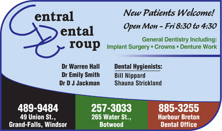 Central Dental Group (709-489-9484) - Annonce illustrée