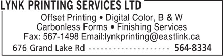 Lynk Printing Services Ltd (902-564-8334) - Display Ad