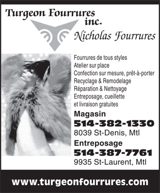Turgeon &amp; Nicholas Fourrures (514-382-1330) - Annonce illustr&eacute;e