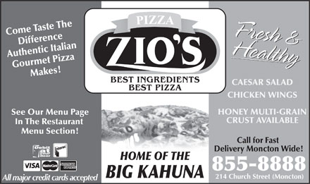 Zio's Pizzeria (506-855-8888) - Display Ad