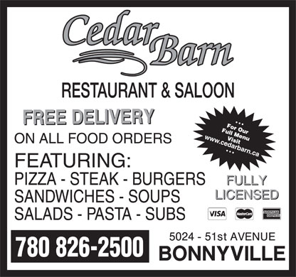 Cedar Barn Pizza (780-826-2500) - Annonce illustr&eacute;e