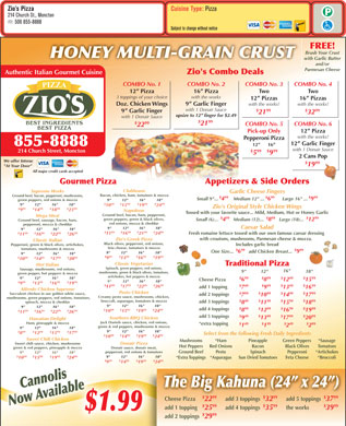 Zio's Pizzeria (506-855-8888) - Menu
