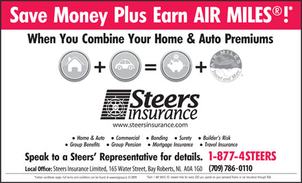 Steers Insurance Limited (709-786-0110) - Annonce illustrée