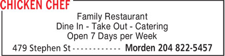 Chicken Chef (204-822-5457) - Annonce illustrée - Family Restaurant Dine In - Take Out - Catering Open 7 Days per Week  Family Restaurant Dine In - Take Out - Catering Open 7 Days per Week