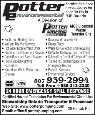 Potter Pumping Services Ltd (807-939-2994) - Display Ad