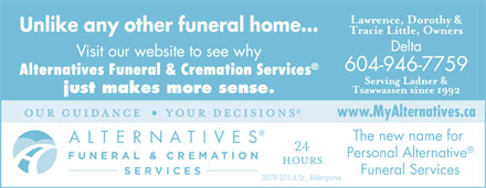 Alternatives Funeral & Cremation Services (604-946-7759) - Annonce illustrée