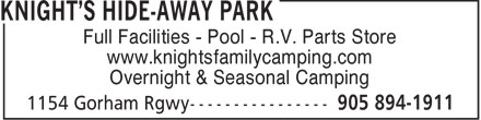 Knight's Hide-Away Park (905-894-1911) - Annonce illustrée - www.knightsfamilycamping.com Overnight & Seasonal Camping Full Facilities - Pool - R.V. Parts Store www.knightsfamilycamping.com Overnight & Seasonal Camping Full Facilities - Pool - R.V. Parts Store