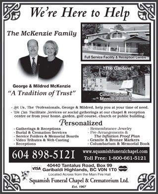Squamish Funeral Chapel Ltd (604-898-5121) - Display Ad