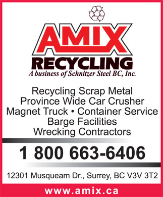 Amix Recycling (1-800-663-6406) - Display Ad