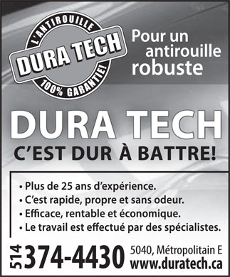 Centre Professionel D'Antirouille Dura Tech (514-374-4430) - Display Ad