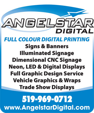 Angel Star Digital Sign Graphics (519-969-0712) - Annonce illustrée - 519-969-0712 www.AngelstarDigital.com  519-969-0712 www.AngelstarDigital.com