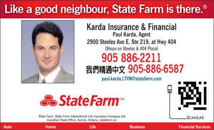 Karda Insurance and Financial-State Farm Insurance Agent (905-886-2211) - Display Ad