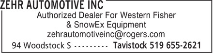 Zehr Automotive Inc (519-655-2621) - Display Ad - Authorized Dealer For Western Fisher & SnowEx Equipment Authorized Dealer For Western Fisher & SnowEx Equipment