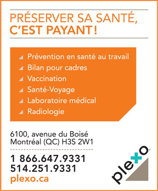 Clinique M&eacute;dicale Plexo (514-251-9331) - Annonce illustr&eacute;e
