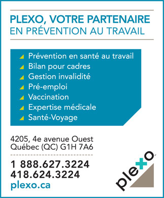 Clinique Médicale Plexo (418-624-3224) - Display Ad