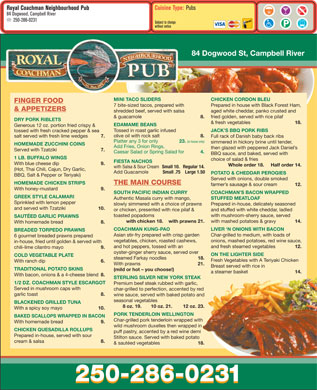 Royal Coachman Neighbourhood Pub (250-286-0231) - Menu