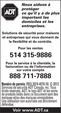 ADT Security Services Canada (1-888-253-7888) - Display Ad