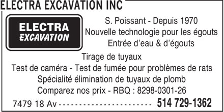 Electra Excavation Enr (514-729-1362) - Display Ad