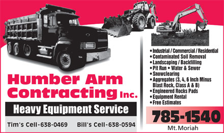 Humber Arm Contracting (709-785-1540) - Annonce illustrée - Industrial / Commercial / Residential  Industrial / Commercial / Residential Contaminated Soil Removal Landscaping / Backfilling Pit Run   Water & Sewer Snowclearing Aggregates (3, 4, 6 Inch Minus Blast Rock, Class A & B) Engineered Rocks Pads Inc. Equipment Rental Free Estimates