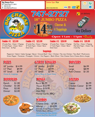 Big Cheese Pizza (709-747-2727) - Menu