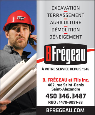 B Fr&eacute;geau &amp; Fils Inc (450-346-3487) - Annonce illustr&eacute;e