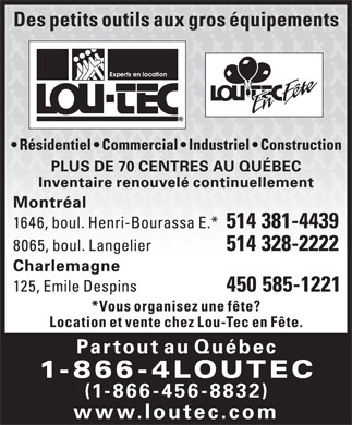 Lou-Tec (1-866-456-8832) - Annonce illustr&eacute;e
