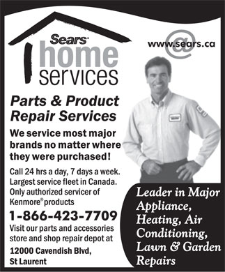 Sears Parts & Product Repair Services (1-866-423-7708) - Display Ad