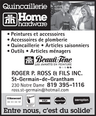 Quincaillerie Home Hardware (819-395-1116) - Display Ad