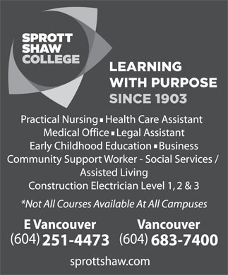 Sprott Shaw College (604-683-7400) - Display Ad