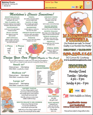 Maidstone Pizzeria (250-338-1141) - Menu