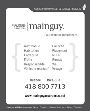 Assurances Mainguy et Services Financiers (581-700-1420) - Display Ad - 418 800-7713 www.mainguyassurances.net