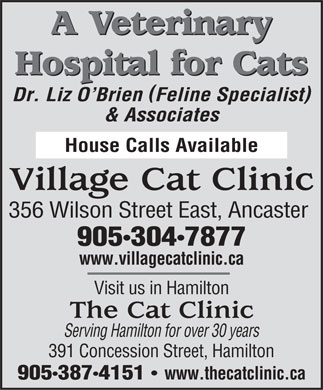 Village Cat Clinic (905-304-7877) - Annonce illustr&eacute;e - A Veterinary Hospital for Cats ( ) Dr. Liz O Brien Feline Specialist &amp; Associates House Calls Available Village Cat Clinic 356 Wilson Street East, Ancaster 9053047877 www.villagecatclinic.ca Visit us in Hamilton The Cat Clinic Serving Hamilton for over 30 years 391 Concession Street, Hamilton 9053874151 www.thecatclinic.ca