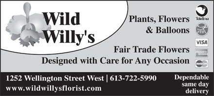 Wild Willy's Plants & Flowers (613-722-5990) - Annonce illustrée - Plants, Flowers Wild & Balloons Willy's Fair Trade Flowers Designed with Care for Any Occasion Dependable 1252 Wellington Street West 613-722-5990 same day www.wildwillysflorist.com delivery