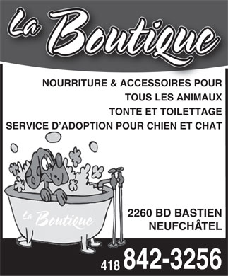 Animalerie Andr&eacute; Enr (418-842-3256) - Display Ad
