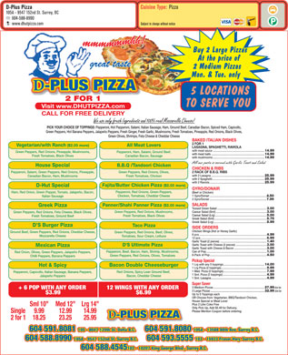 D-Plus Pizza (604-588-8990) - Menu