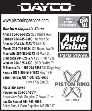 Auto Value Parts Stores (204-388-6343) - Annonce illustr&eacute;e - www.pistonringservice.com Eastern Corporate Stores Altona 204-324-6222 273 Centre Ave. Carman 204-745-2800 110 Main St. Grunthal 204-434-6383 77 Main St. Morris 204-746-6684 122 Boyne Ave W Niverville 204-388-6343 78 Main St. Steinbach 204-326-9777 281 PTH 12 N Winkler 204-325-4338 150 D Foxfire Trl Ft Frances ON 1-807-274-6666 981 King s Hwy Kenora ON 1-807-548-1642 Hwy 17 E Vermilion Bay ON 1-807-227-2630 Hwy 17 &amp; Elm St. Associate Stores rPoweview 204-367-2014 Powerview Auto Supplies7 Power Drive Lac Du Bonnet 204-345-8666 Relay Auto &amp; Farm Supplies 148 PR 317