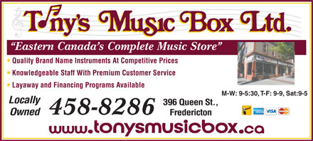 Tony's Music Box Ltd (506-458-8286) - Display Ad