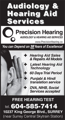 Precision Hearing Clinic (604-585-7414) - Display Ad