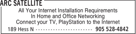 ARC Satellite (905-528-4842) - Display Ad - All Your Internet Installation Requirements In Home and Office Networking Connect your TV, PlayStation to the Internet