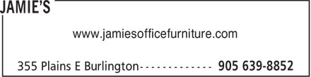 Jamie's (905-639-8852) - Display Ad - www.jamiesofficefurniture.com  www.jamiesofficefurniture.com  www.jamiesofficefurniture.com