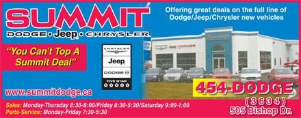 Summit Dodge (506-454-3634) - Display Ad - Offering great deals on the full line of Dodge/Jeep/Chrysler new vehicles You Can t Top A Summit Deal www.summitdodge.ca (3634) Sales: Monday-Thursday 8:30-8:00/Friday 8:30-5:30/Saturday 9:00-1:00 505 Bishop Dr.5BishopDr Parts-Service: Monday-Friday 7:30-5:30