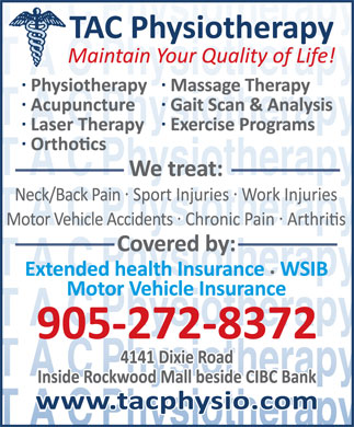 TAC Physiotherapy Clinic Inc (905-272-8372) - Display Ad