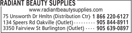 Radiant Beauty Supplies (1-866-220-6127) - Annonce illustrée - www.radiantbeautysupplies.com